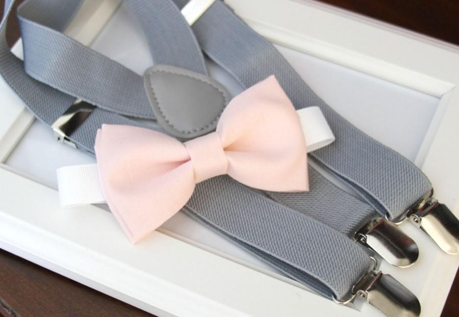 Mariage - Light Pink bow-tie & Light gray elastic suspender set, Adjustable neck strap and suspender - Blush pink bow tie and light gray suspenders