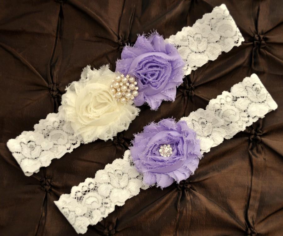 Mariage - Wedding Garter Set, Bridal Garter Set - Ivory Lace Garter, Keepsake Garter, Toss Garter, Lavender Wedding Garter Belt, Lavender Garter