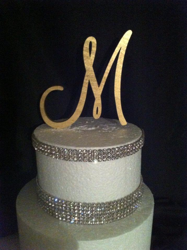 Painted Single Monogram Cake Topper Gold Cake Topper Silver Cake