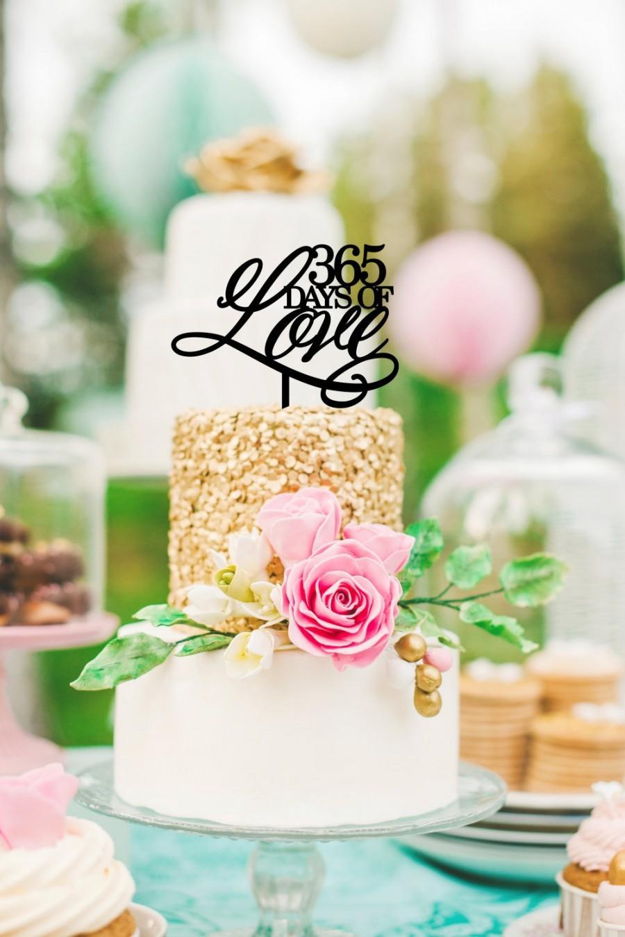 Hochzeit - Original 365 Days of Love First Anniversary Cake Topper