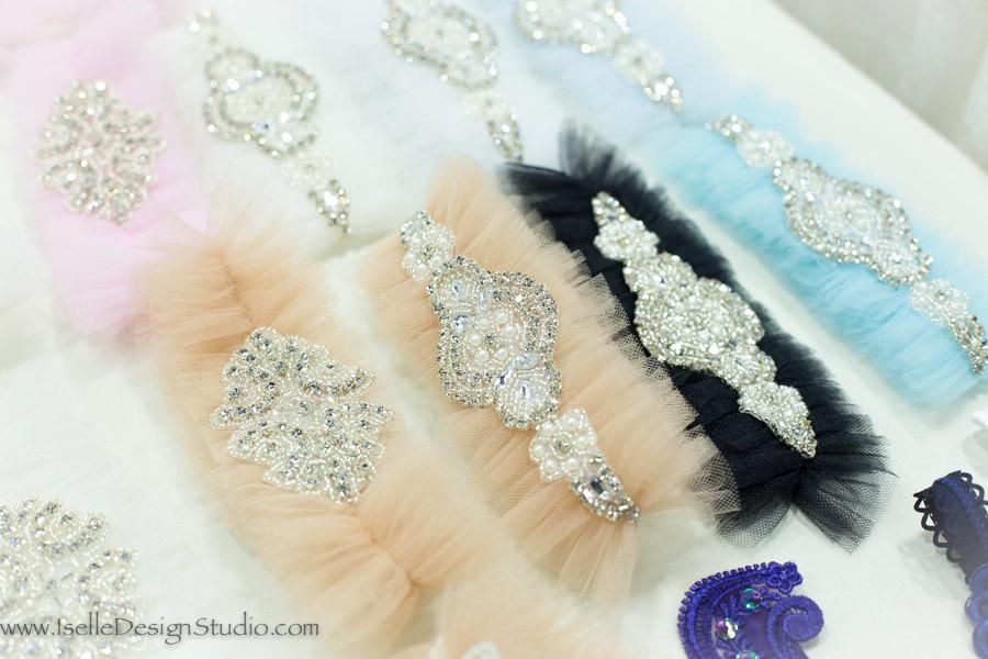 Hochzeit - Champagne Wedding Garter Belt- tulle, rhinestones, Blue Garter Belt, something Blue, bridal shower gift, lingerie