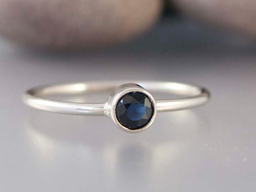 white gold and blue sapphire ring thin engagement ring
