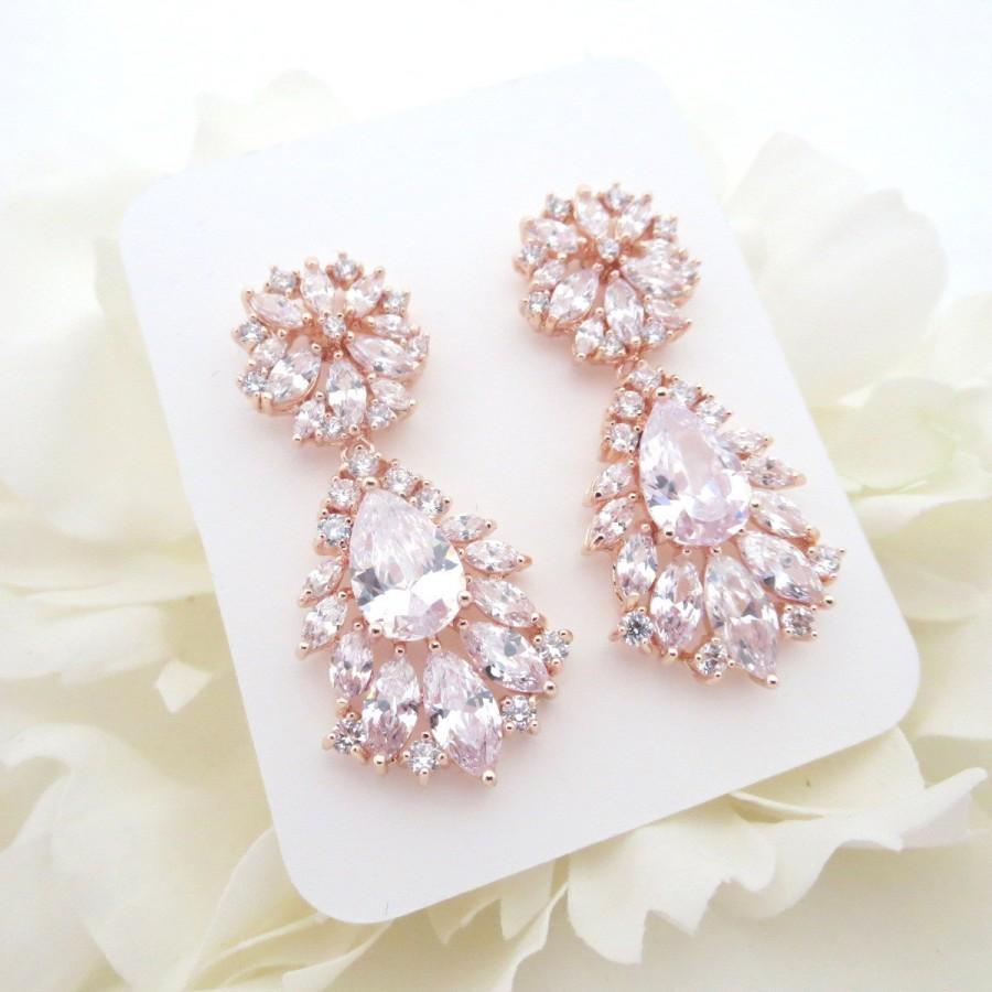 Rose Gold Bridal Earrings, Crystal Wedding Earrings, Bridal ...