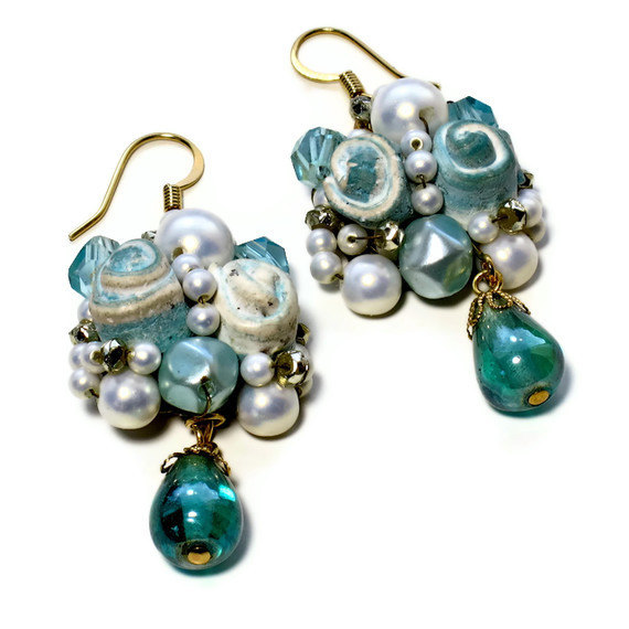 Свадьба - Repurposed Teal Wedding Earrings, Pearl  Cluster, Upcycled, Bridal Jewelry