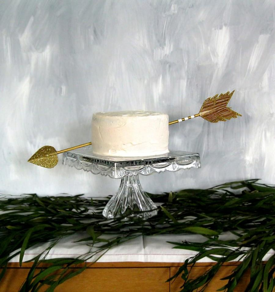 Wedding - Cupid's Arrow cake topper decoration shown in wood grain gold and ivory