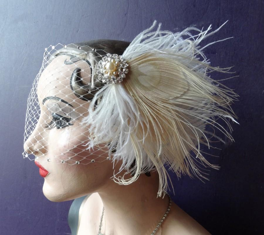 Bridal Veil, Peacock Feather Fascinator, Birdcage Veil ...