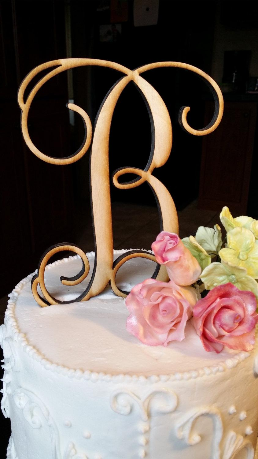 Mariage - Wooden Initial Cake Topper - Unpainted Vine Script Initial Cake Topper - Wedding Cake Topper