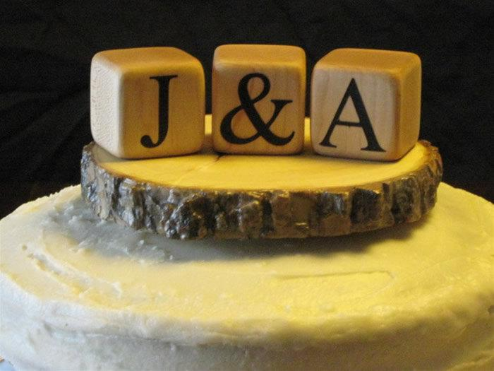 MONOGRAM CAKE TOPPER Rustic Wedding Cake Topper Custom Wood Wedding ...