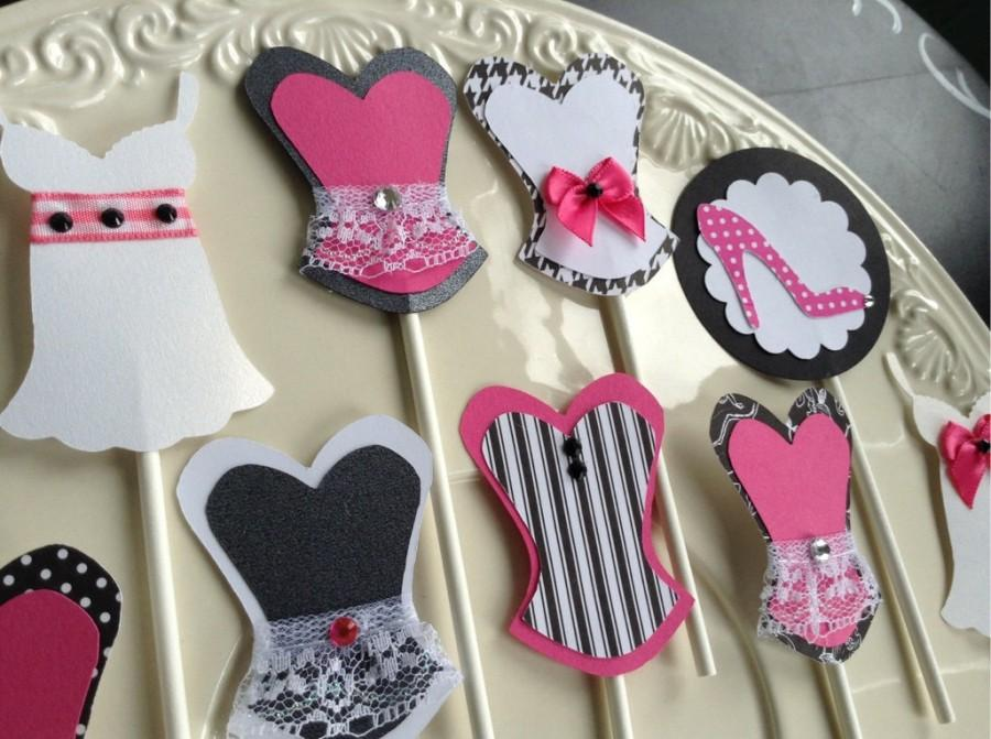 Bachelorette Party Cupcake Toppers Corset Lingerie Sexy Food Picks