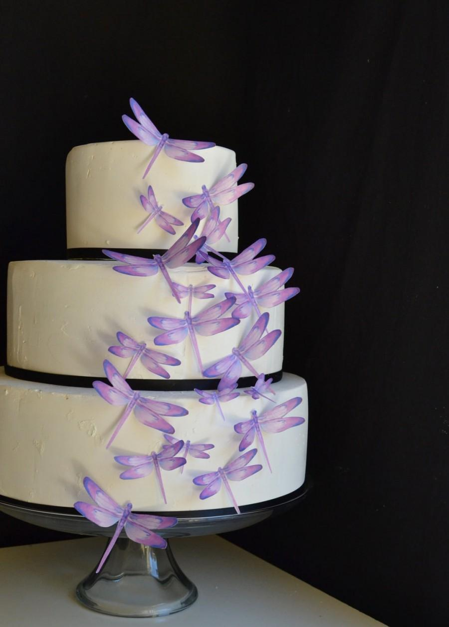 Mariage - Wedding Cake Topper Edible Dragonflies - Assorted Purple- Cake and Cupcake toppers - set of 30 precut
