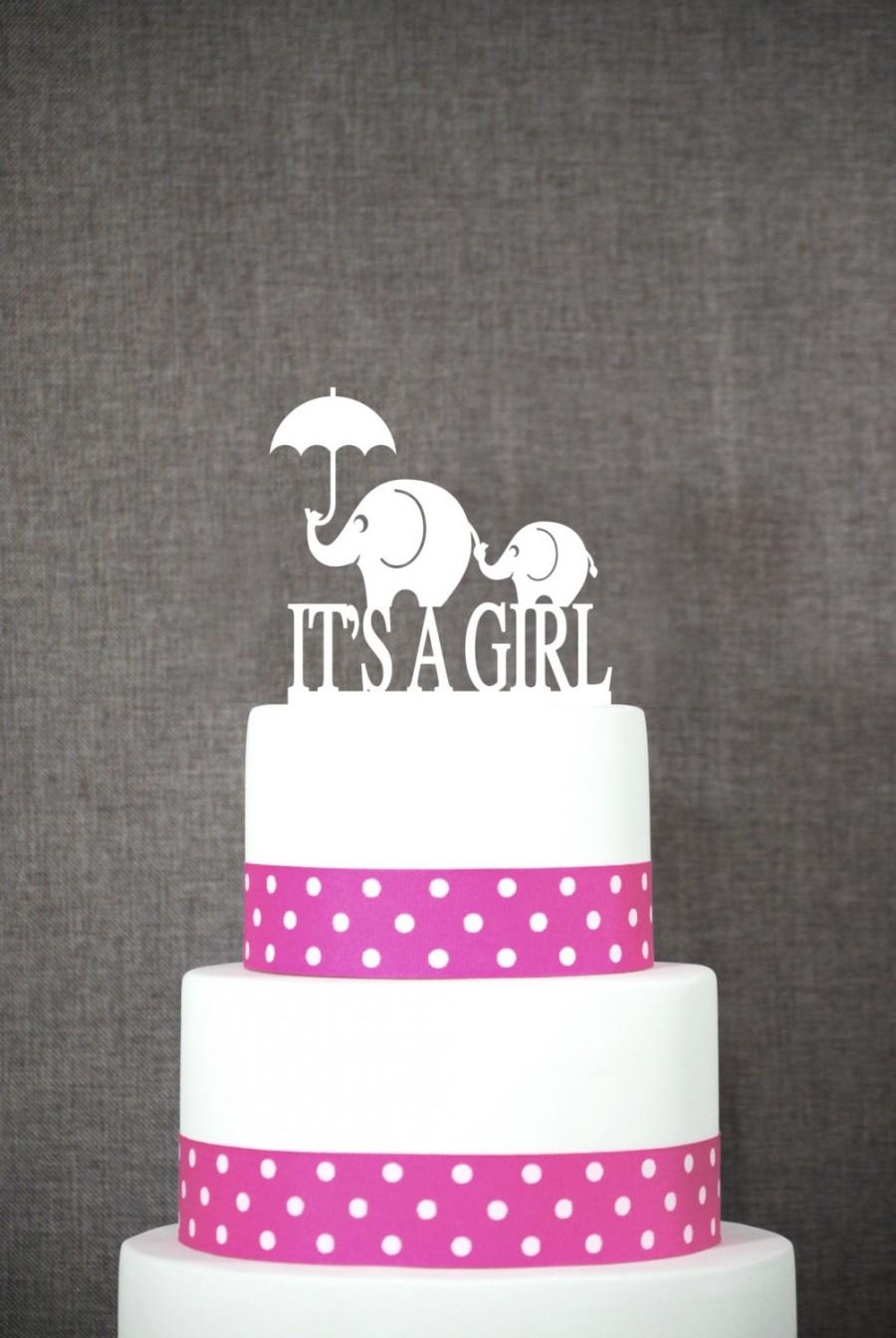 Mariage - Elephant Cake Topper - It's A Girl Cake Topper by Chicago Factory - (S043)