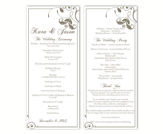 Mariage - Wedding Program Template DIY Editable Word File Instant Download Program Gray Program Floral Program Printable Wedding Program 4x9.25inch