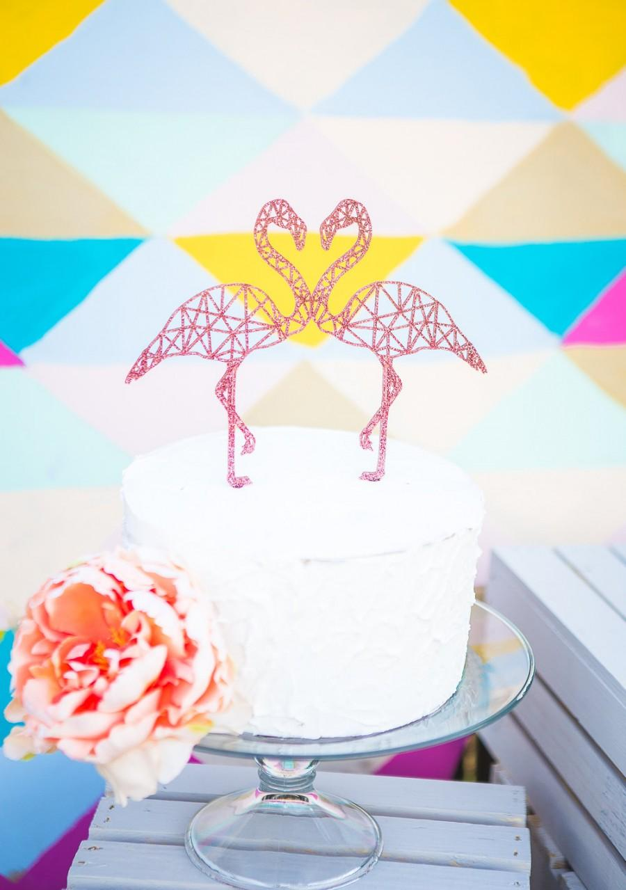 Mariage - Flamingo Cake Topper Geometric Party Cake Topper Flamingo for Couples Engagement or Wedding Cake Decor (Item - FLA200)