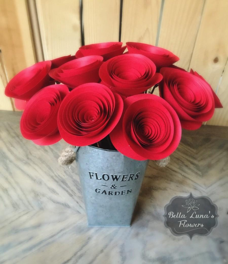 Paper flowers stemmed red wedding home decor baby shower paper flowers stemmed red wedding home decor baby shower birthday gift you customize any colors izmirmasajfo