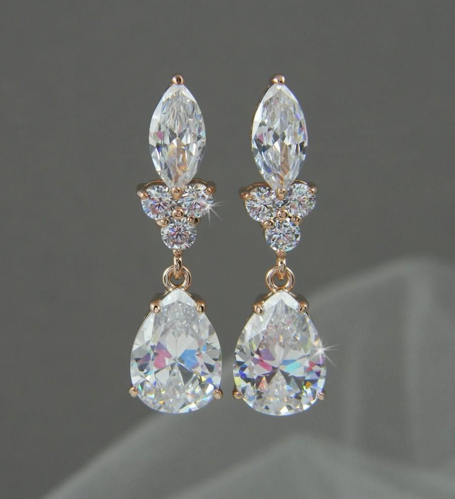 Rose Gold Wedding Earrings Crystal Bridal Bridesmaid Gift Swarovski Rachael Stud