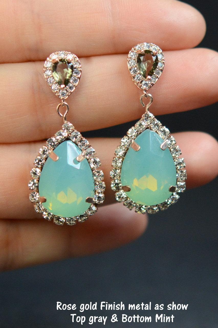 زفاف - gray earrings,mint earrings , gray Mint earrings,studs earrings,drop dangle earrings,rose gold earrings,bridesmaid gifts,bridal jewelry,gift