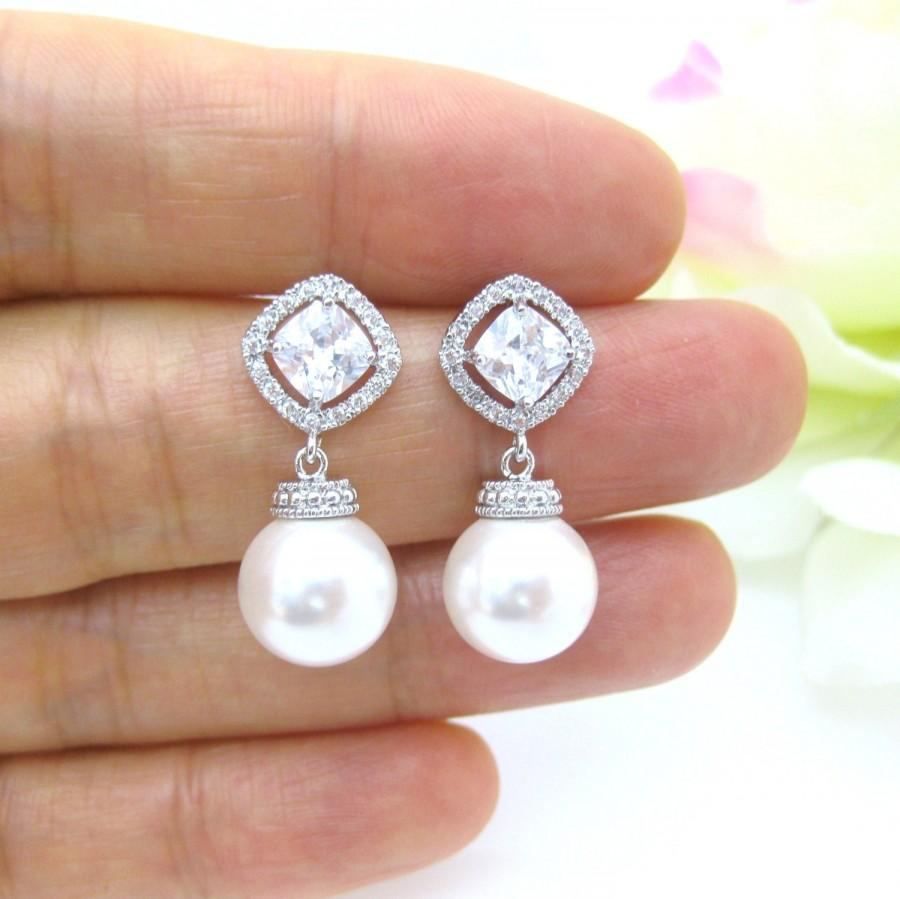 Bridal Pearl Earrings Swarovski 10mm Round Cubic Zirconia Square Cut Wedding Jewelry Bridesmaid Gift E152