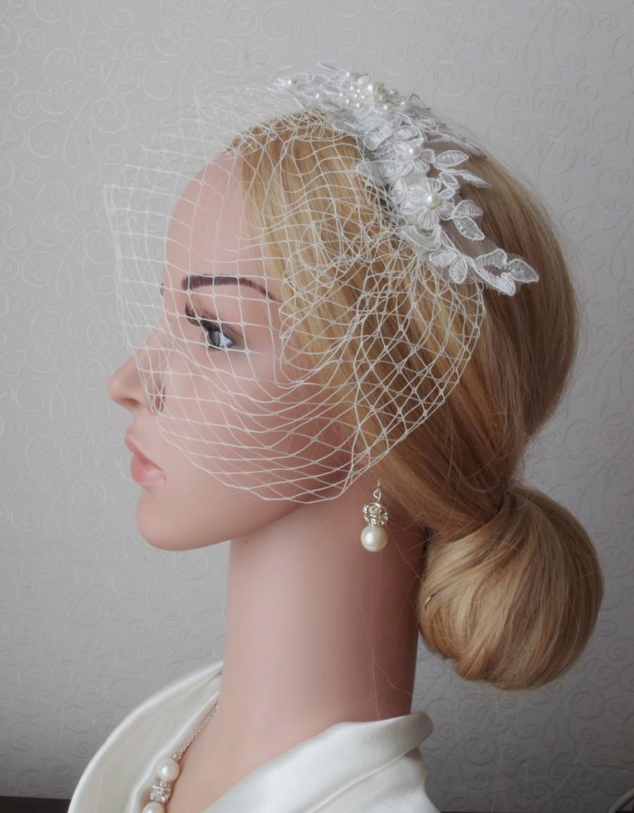 Mariage - Lace birdcage veil in ivory full birdcage veil with lace Wedding Veil