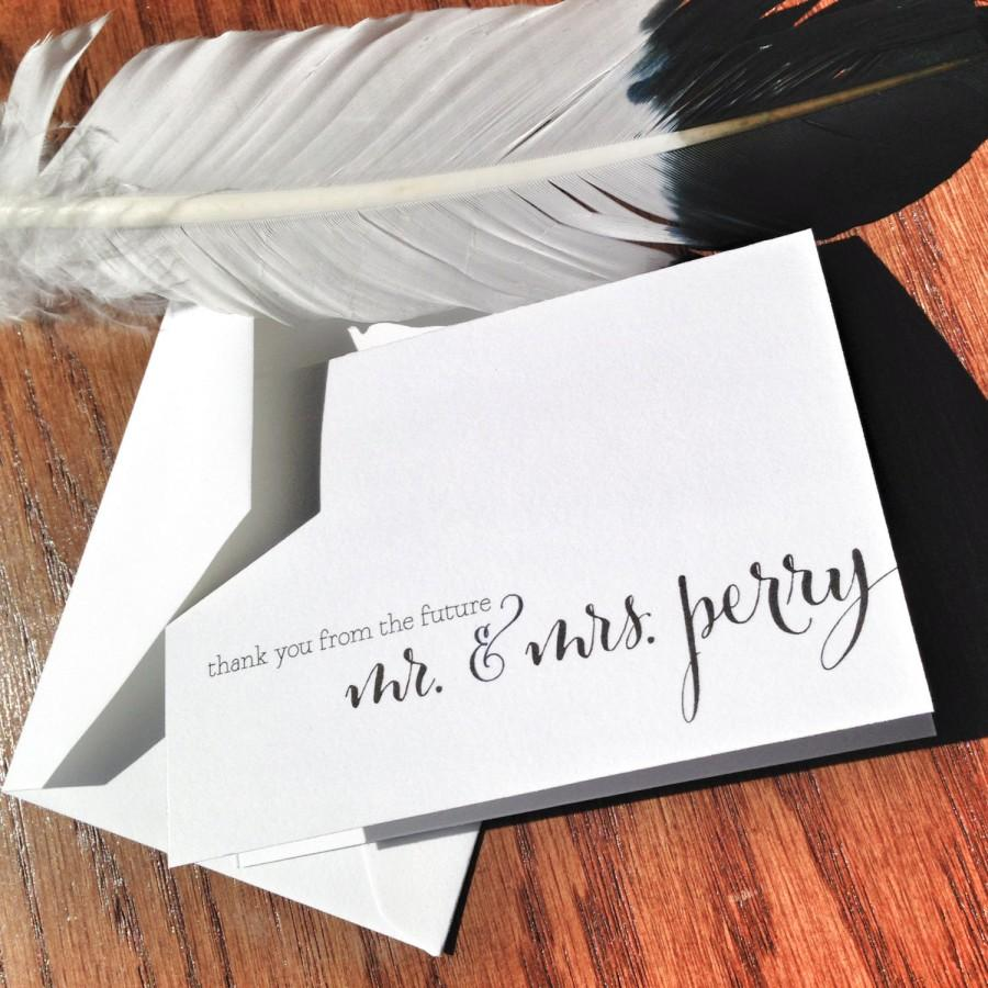 Mariage - Thank You from the Future Mr. and Mrs. Wedding Thank You Notes, handmade wedding stationery, bride and groom wedding thank you cards