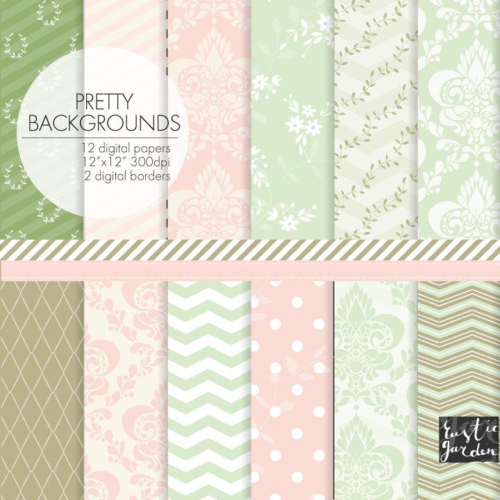 Wedding - Shabby chic damask and floral digital paper. Shabby chic mint, green, blush pink, beige digital paper. Damask, chevron, floral shabby chic.