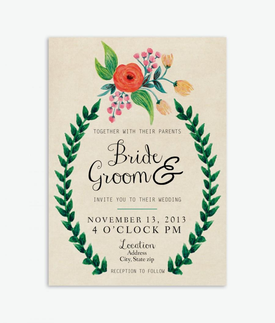Wedding - Rustic, Hand-Painted Floral Wedding Invitation (Tan or White)