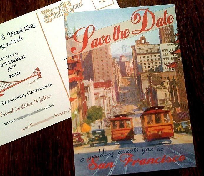 Wedding - Vintage San Francisco Postcard Save the Date