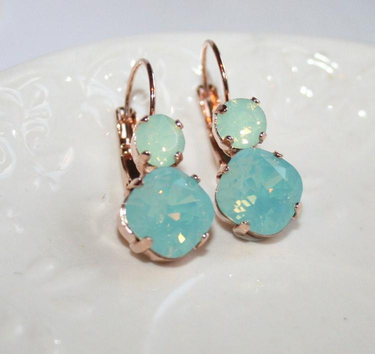 Mint Earrings Opal Rhinestone Rose Gold Earrings Swarovski Pacific