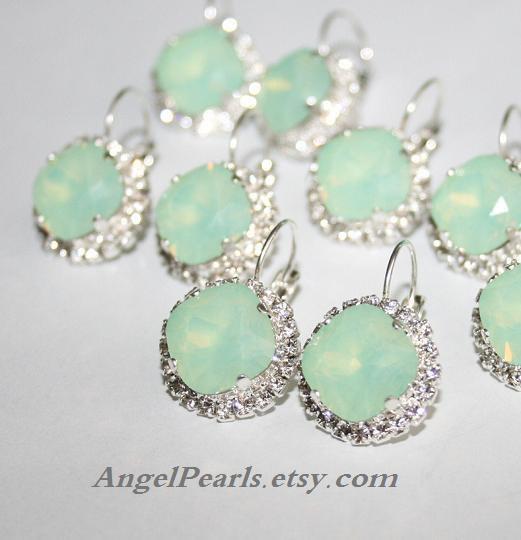Hochzeit - Mint Silver Earrings,Seafoam Swarovski Jewelry,Opal Green Crystal Statement Earrings,Mint Opal Earrings Chrysolite Opal Bridal Earrings
