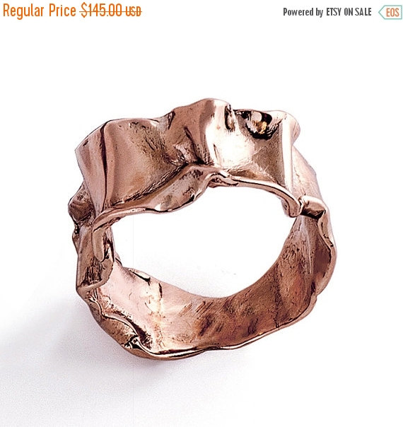 Wedding - Christmas SALE - CRUMPLED Rose Gold Ring, Statement Ring, Unique Wedding Band, Women's Rose Gold Wedding Band, Alternative Wedding Band