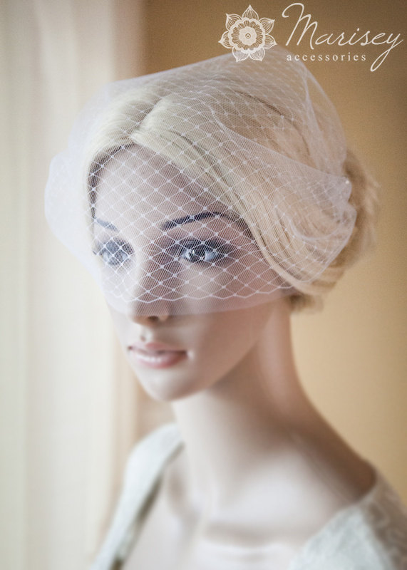 Mariage - Birdcage Veil Bridal Double Blusher Bandeau French Netting and Tulle