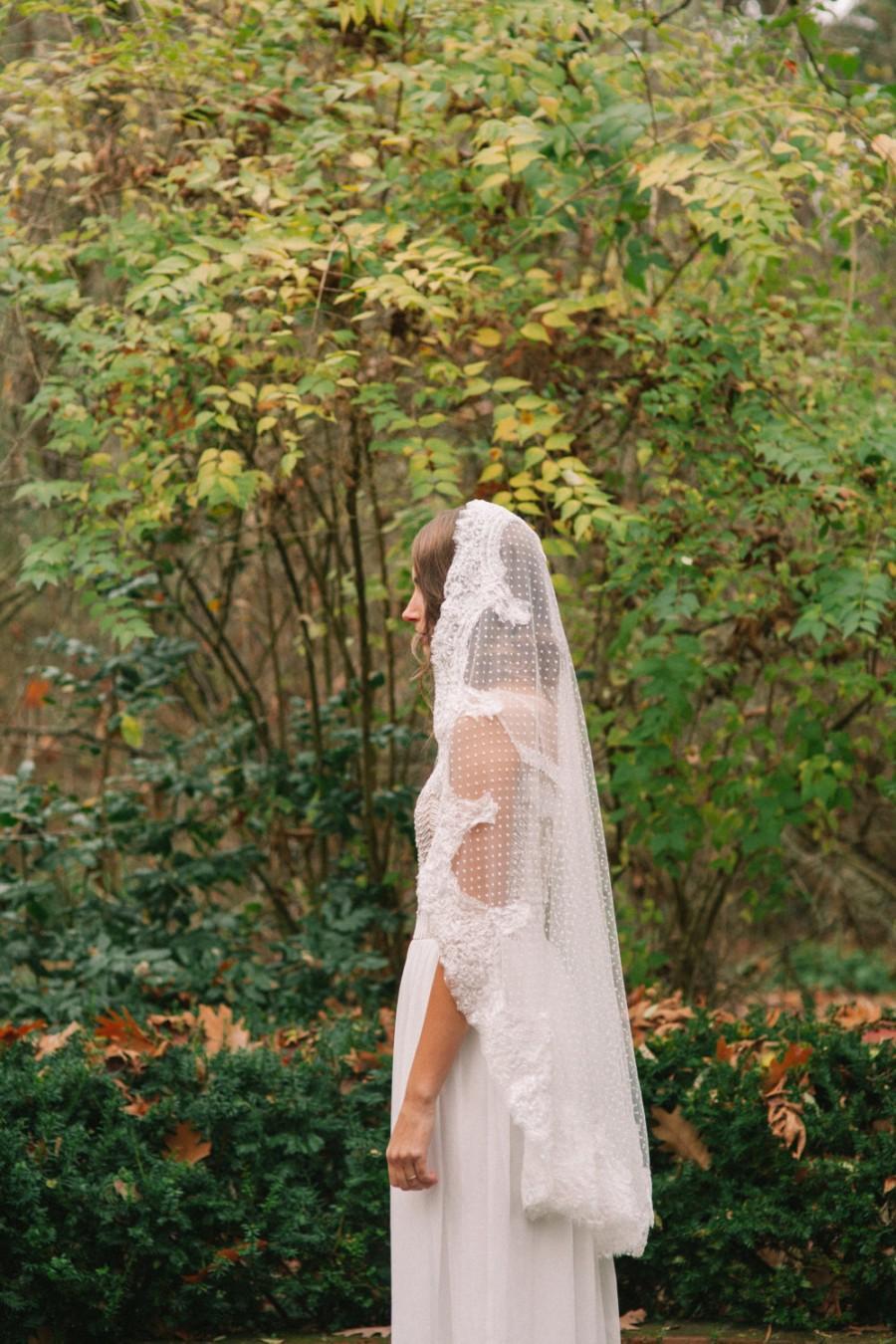 Hochzeit - Wedding veil, Dotted Point d' Esprit  Veil, Bridal Veil, Swiss Dot Veil --DAPHNE
