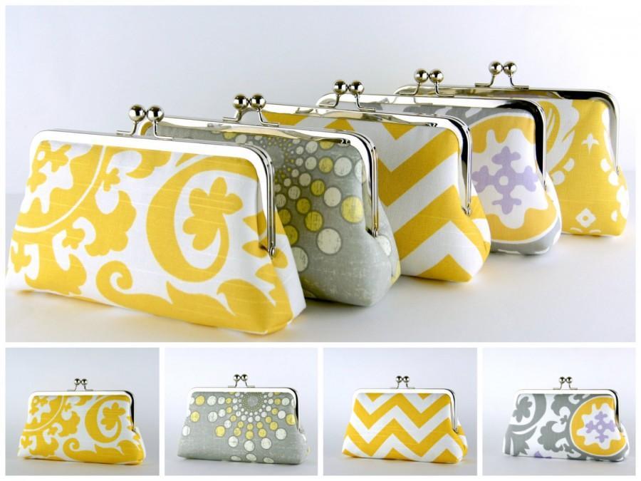 Hochzeit - Bridesmaid Clutch, Grey and Yellow collection, Silk Lining, Bridesmaid Gift, Wedding clutch