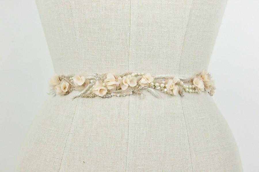 Hochzeit - Wedding Belt, Floral Bridal Sash, Blush Pink Floral Delicate Pearl Beaded Jeweled Wedding Accessories, Rustic, Camilla Christine, BEGONIA