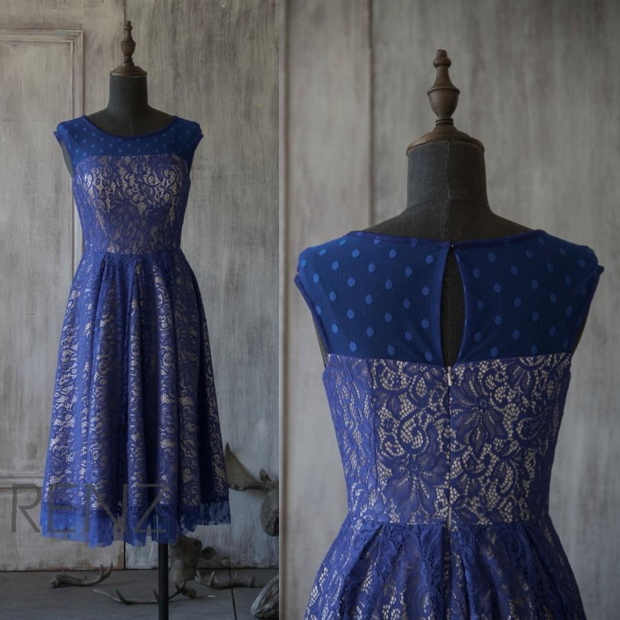 2015 Navy Lace Bridesmaid Dress Scoop Sleeveless Wedding