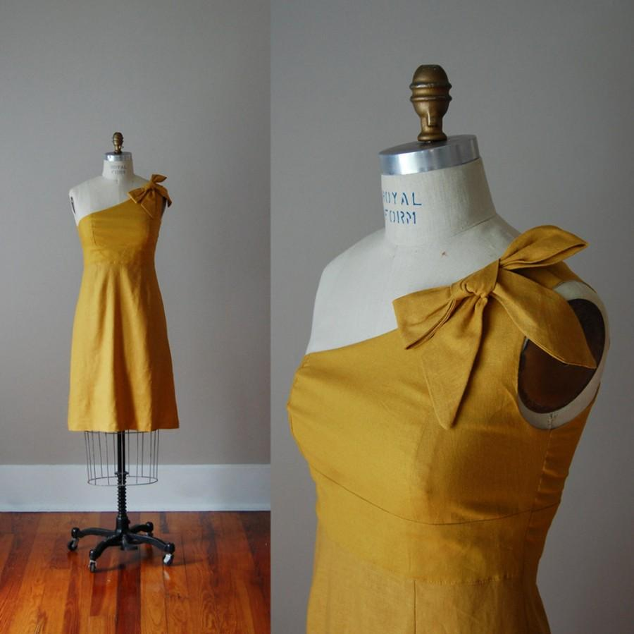 Düğün - One Shoulder Linen Handmade Dress w A Line Skirt and Bow, Handmade in USA, Several Colors Available