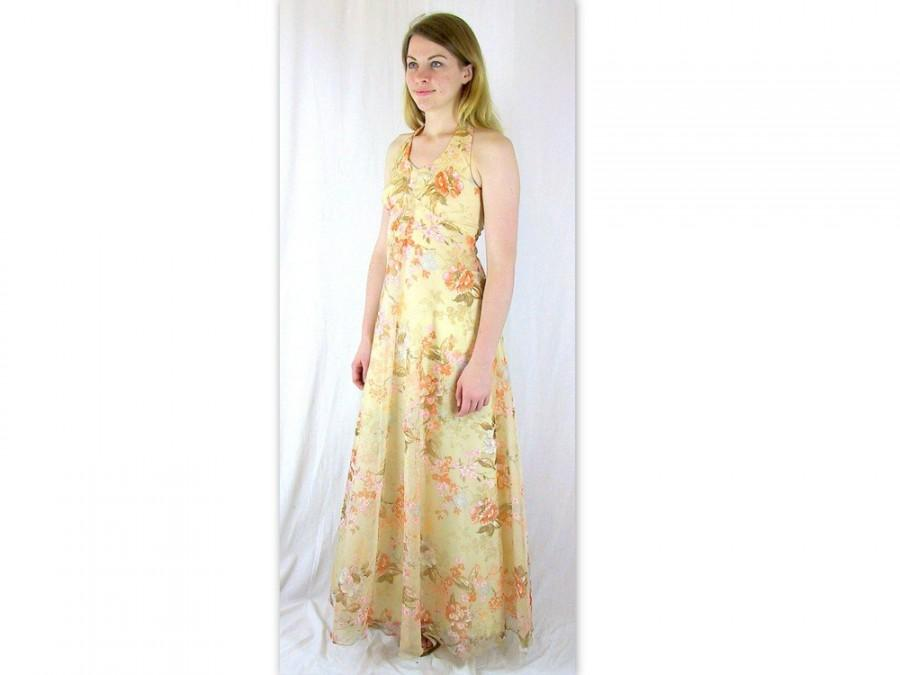 Свадьба - Vintage 1970's Tan Floral Halter Prom Party Dress, Modern Size 8 Small