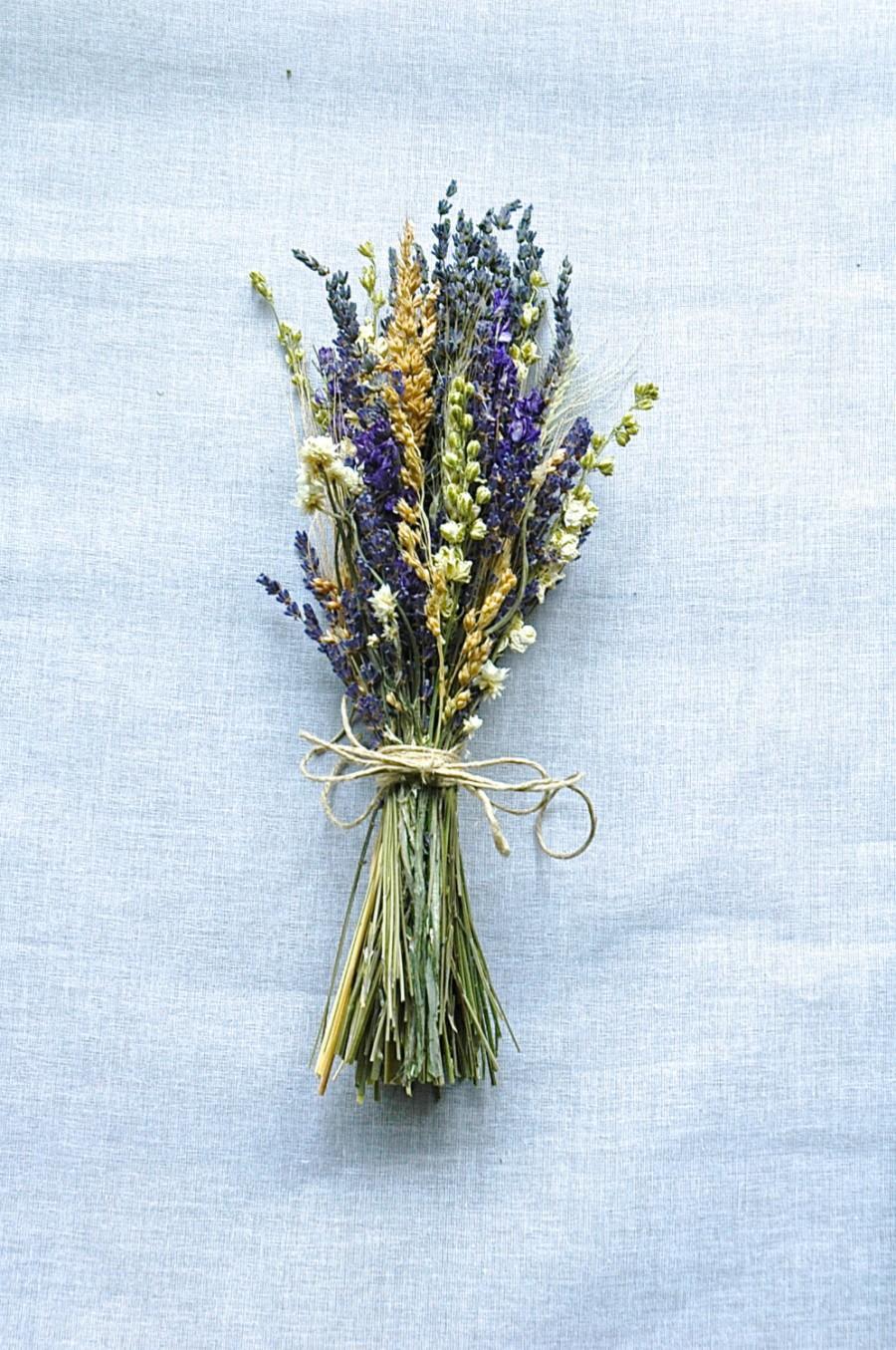 Hochzeit - 2 Summer Wedding Bridesmaid Bouquets of Montana Lavender  Larkspur and Wheat
