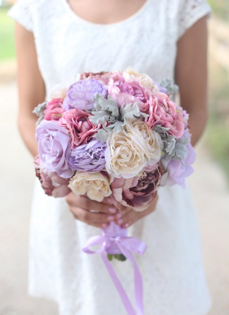 Hochzeit - Silk Bride Bouquet Cream Roses and Peonies Shabby Chic Vintage Inspired Rustic Wedding Keepsake Bouquet