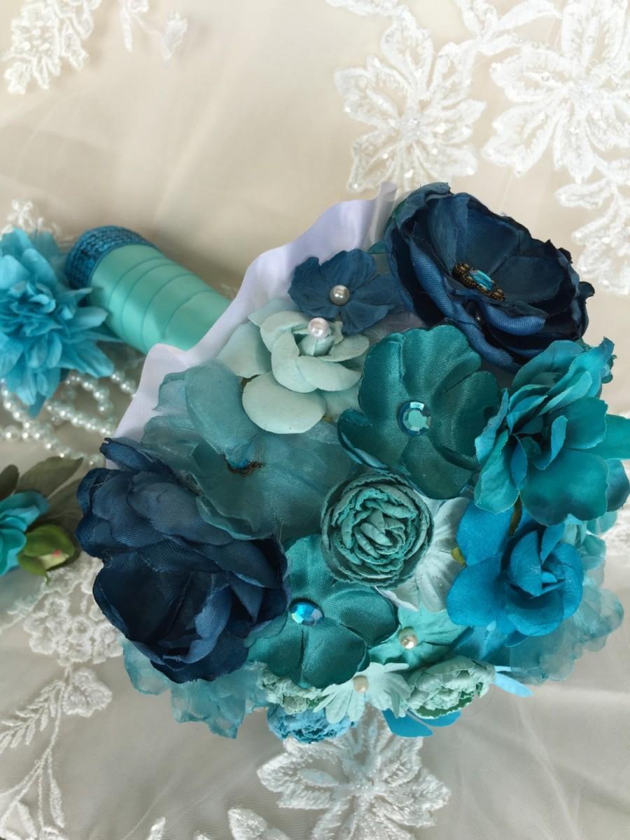 Sale - Turquoise Blue Bouquet - Paper Flower Bouquet - Blue Bouquet ...