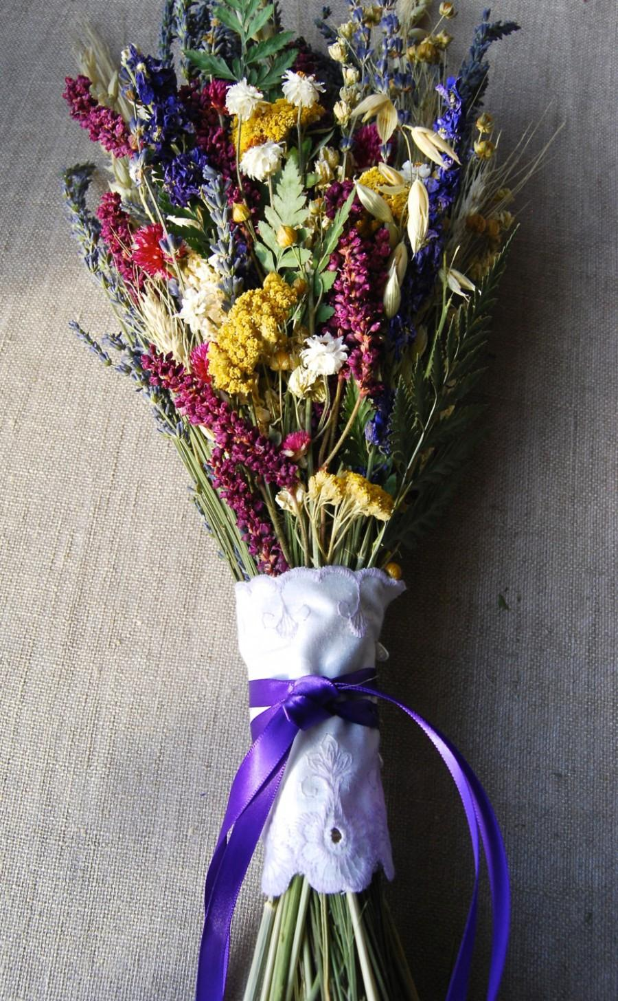 Hochzeit - Kiss Me Quick Wedding  Brides Bouquet of Lavender Larkspur Wheat and other dried flowers