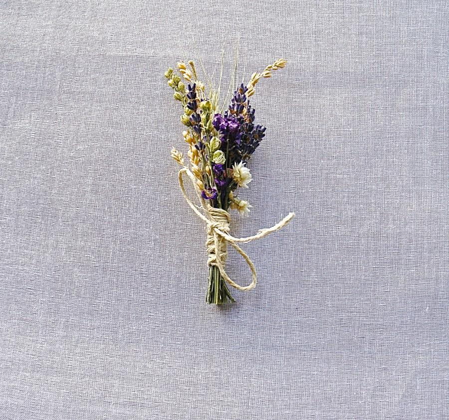 Hochzeit - 6 Wildflower Wedding Lavender Larkspur and Wheat Boutonnieres or Pin on Corsages