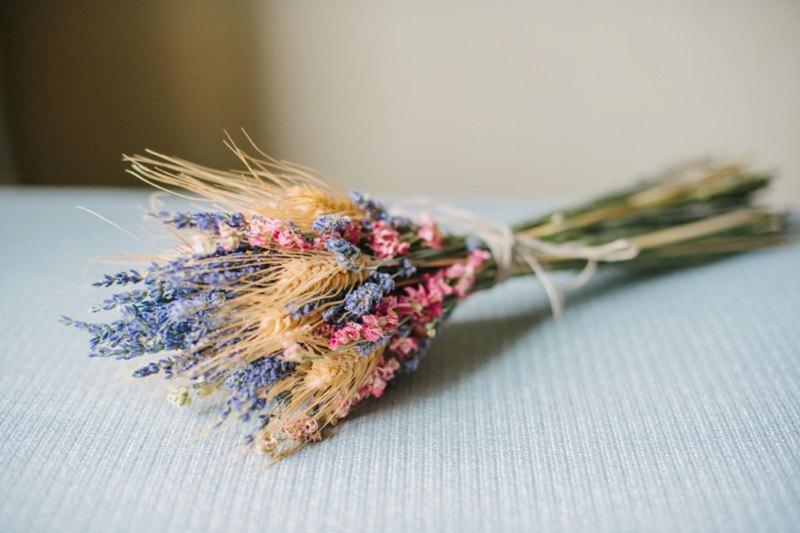 Hochzeit - Golden Summer Fall Wedding  Bridesmaid Bouquet of Lavender Coral Peach Larkspur and Wheat
