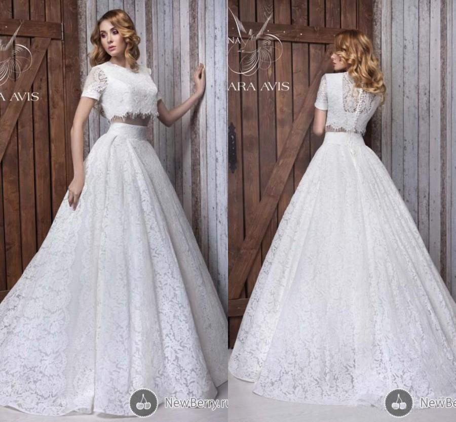 Fashionest New Two Pieces A Line Wedding Dresses Empire Wasit Sexy