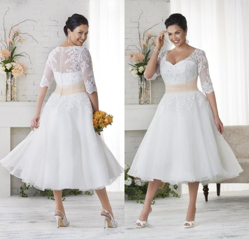 Vintage 2016 short wedding dresses with half sleeves for Retro tea length wedding dresses