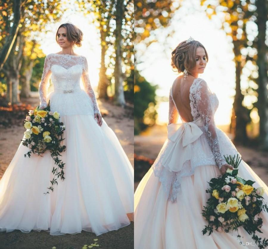 Sexy backless wedding dress 2015 ball gown long sleeve for Lace sleeve backless wedding dress
