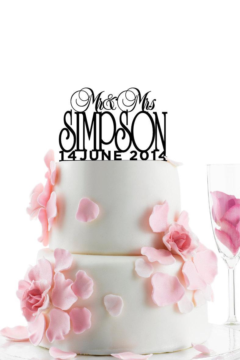 Hochzeit - Custom Wedding Cake Topper - Personalized Monogram Cake Topper - Mr and Mrs -  Cake Decor -  Bride and Groom