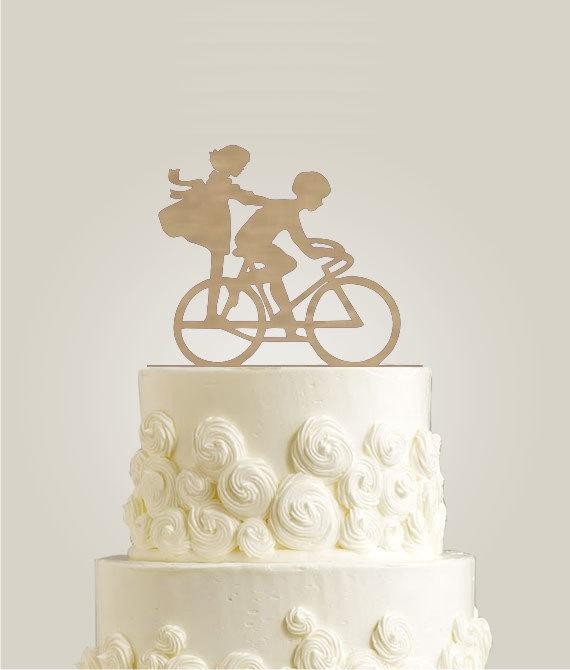 Свадьба - Bicycle Wedding Cake Topper - Rustic Cake Topper - Wood Cake Topper, Burlap Wedding Cake Topper, Bike Cake Topper
