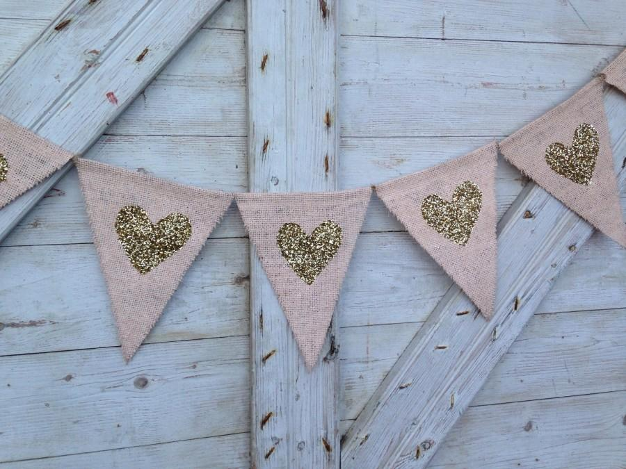 Hochzeit - Wedding Decor, Heart Garland, Peach and Gold Wedding, Gold heart Banner, Burlap Bunting, Photo Prop, Valentines Decor, Valentines Banner