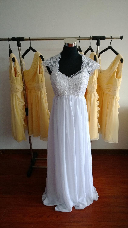 Свадьба - lace bridesmaid Dress Chiffon Prom Dresses Lace Dresses Hand made Dresses Plus size Dresses Lace Wedding Dresses
