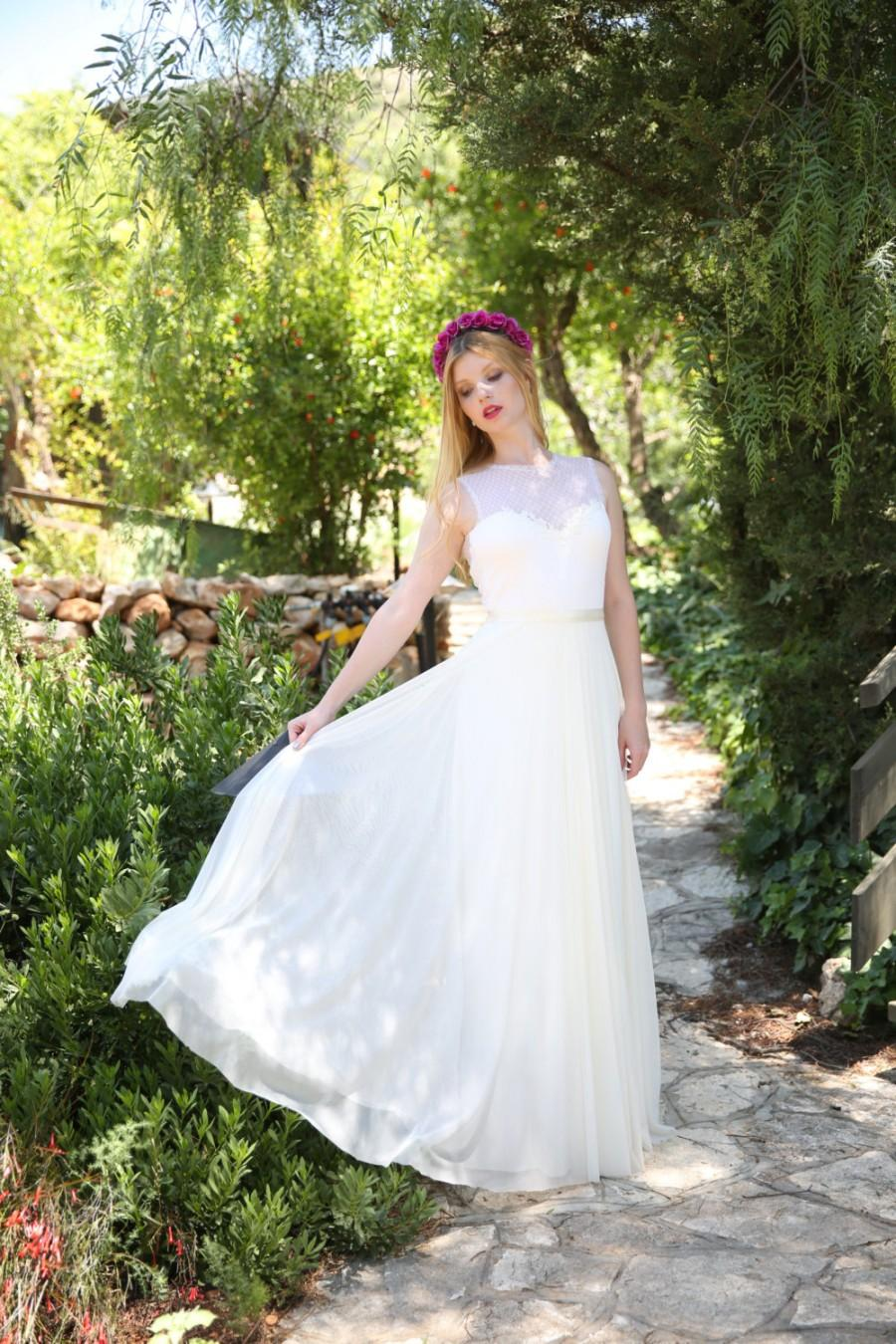 2d823f16f185 Leila - Romantic wedding dress with lace top and chiffon skirt, boho  wedding dress, backless wedding dress, beach wedding dress